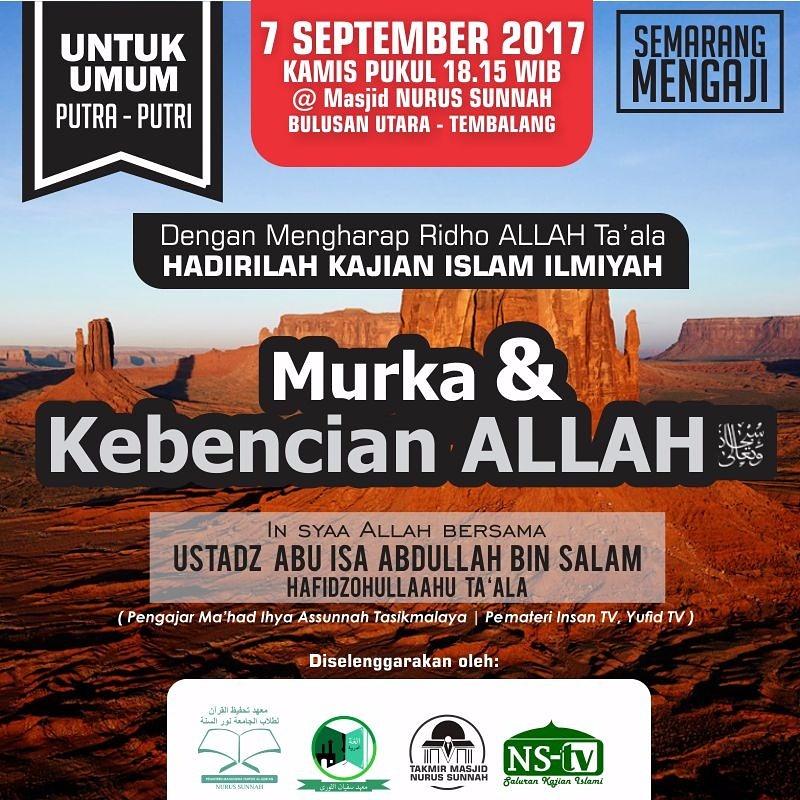 Kajian Ustadz Abu Isa Abdullah bin Salam – September 2017