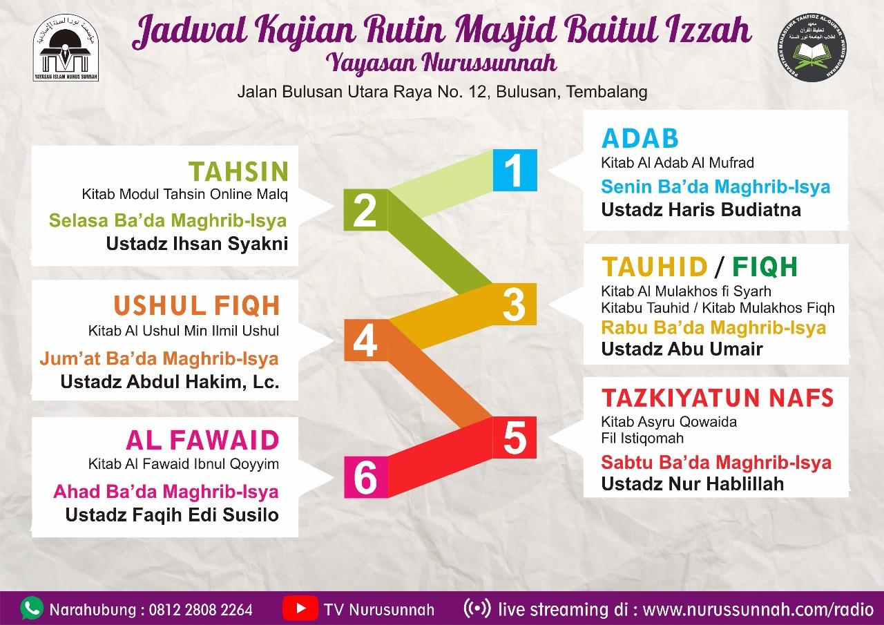 Info Kajian Rutin Masjid Nurus Sunnah 2018
