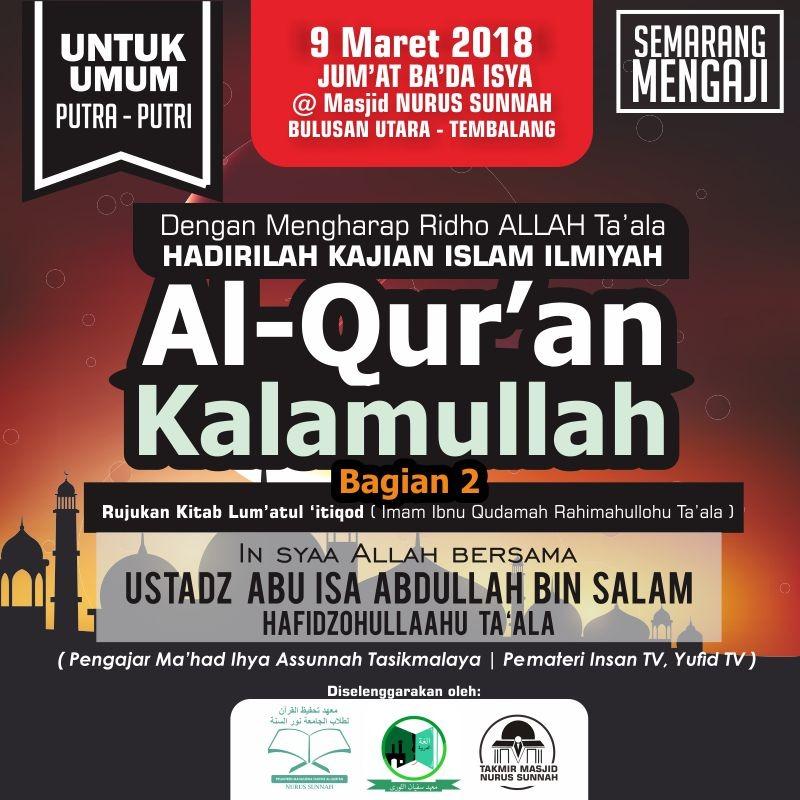 Kajian Ustadz Abu Isa Abdullah bin Salam – 9 Maret 2018